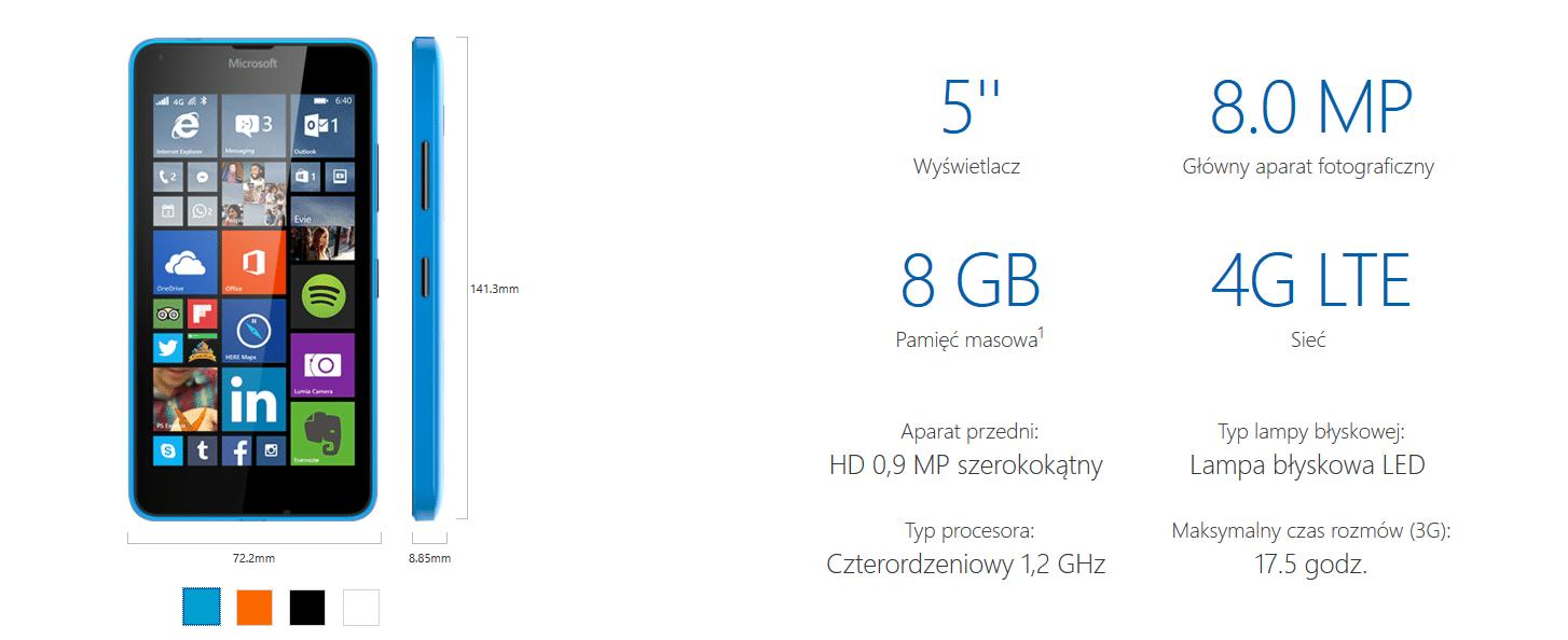 Specyfikacja Microsoft Lumia 640